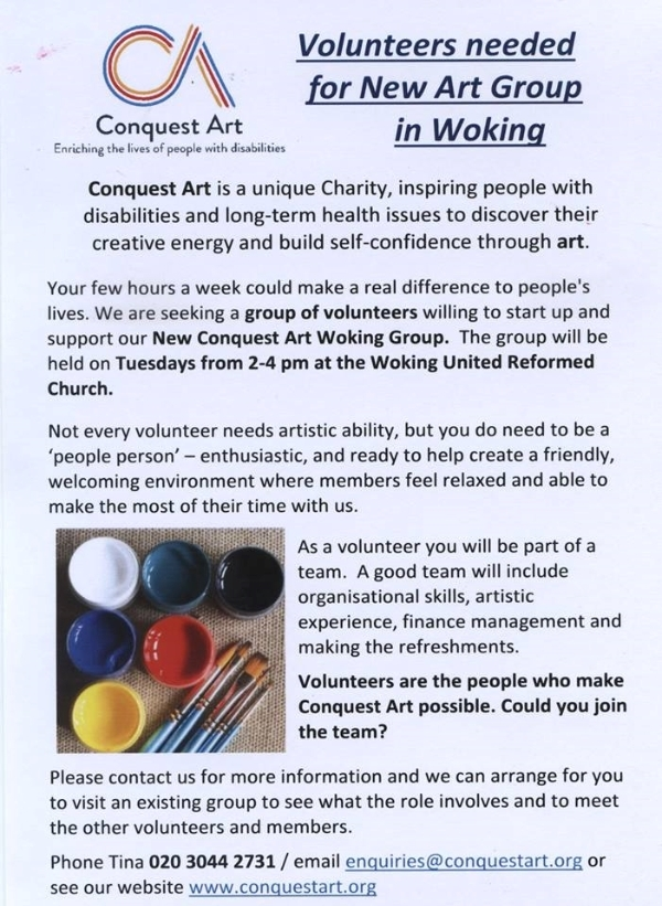 Volunteers needed for New Art Group in Woking