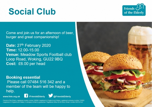 Fancy a beer, burger and great companionship.