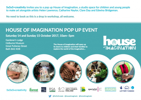 House of Imagination Pop up event 14 and 15 October at the Gardner's Loddge Holburne Museum