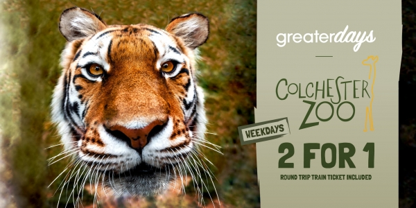 Colchester Zoo, weekday 2 for 1 entry and return rail fare with Greater Anglia trains