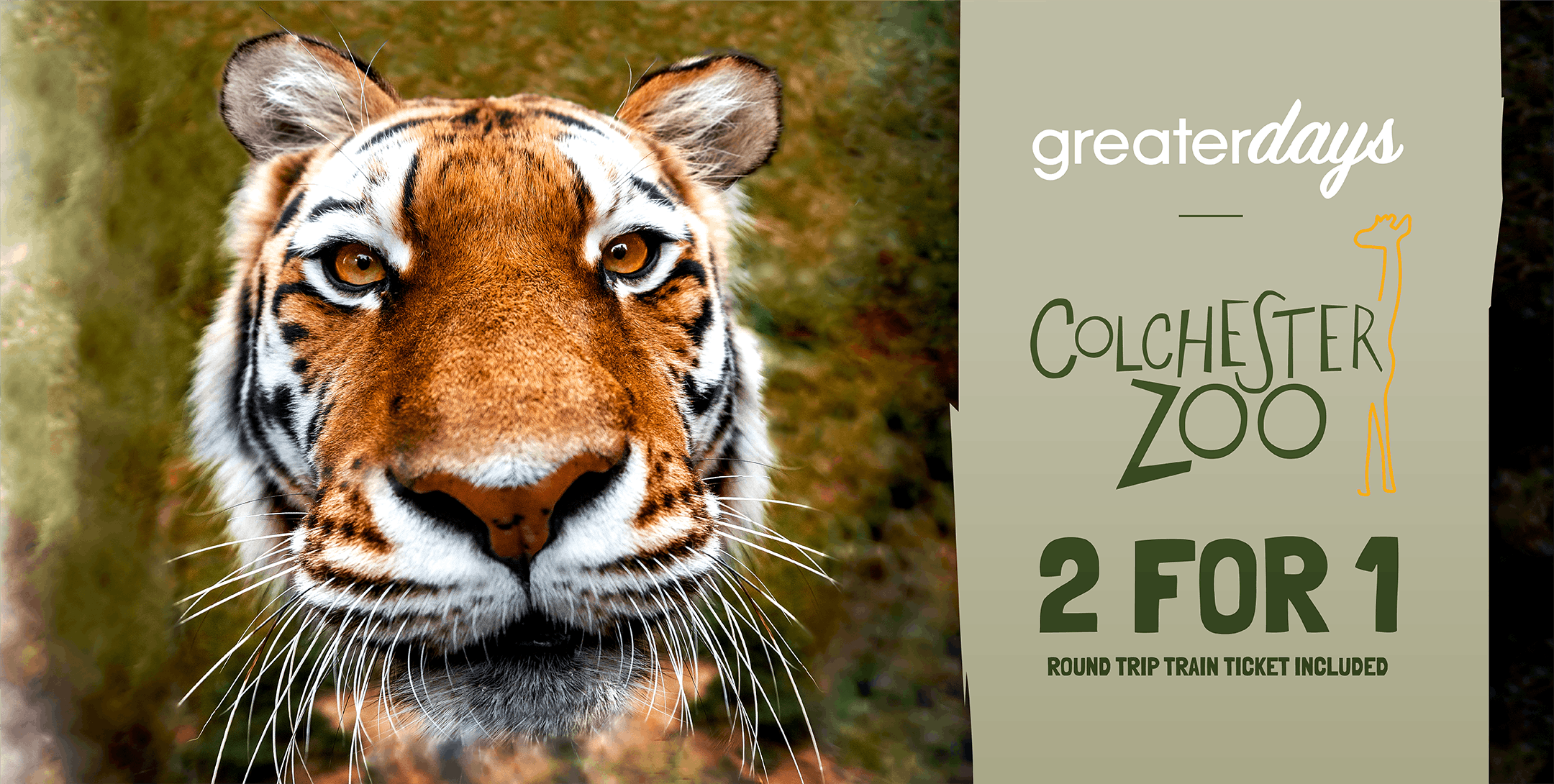 Colchester Zoo, 2 for 1 entry and return rail fare with Greater Anglia trains