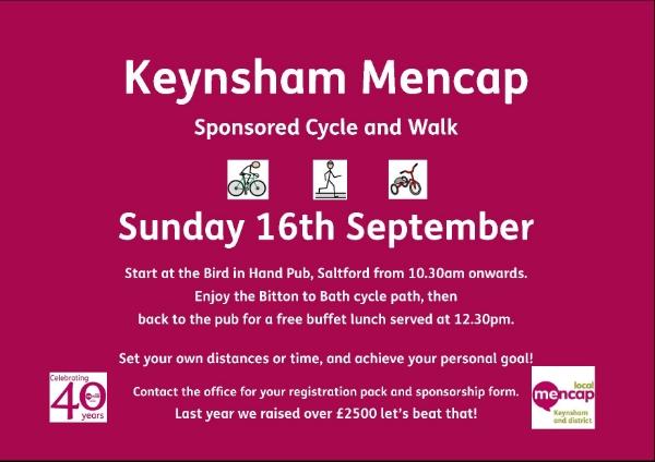 Keynsham Mencap Sponsored Cycle Walk and Push
