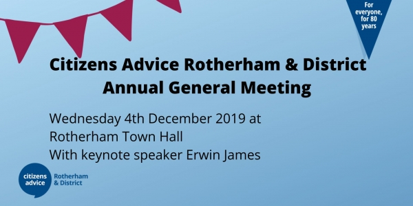 Citizens Advice Rotherham & District AGM with keynote speaker Erwin James
