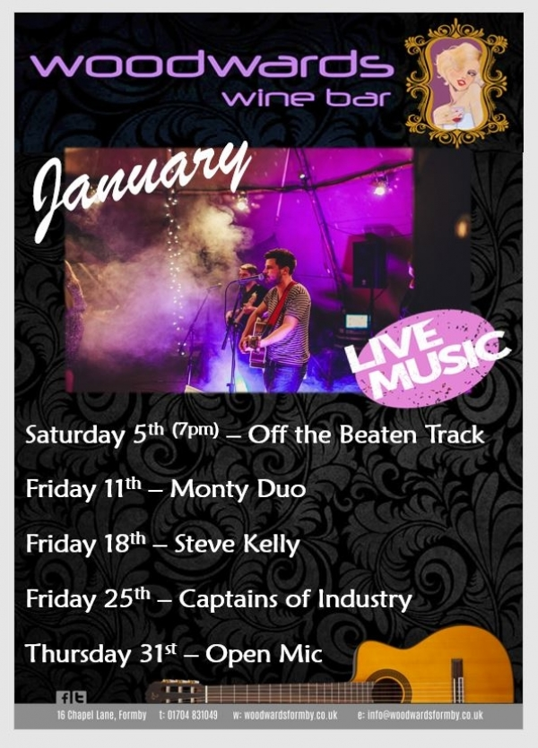 Live Music this January at Woodwards