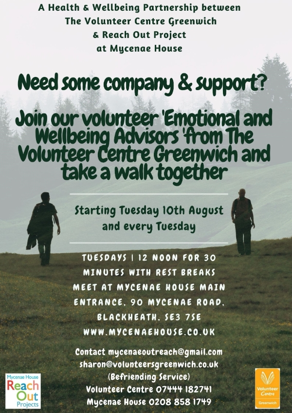 Join our Volunteer 'Emotional and Wellbeing Advisors' from The Volunteer Centre and take a stroll together