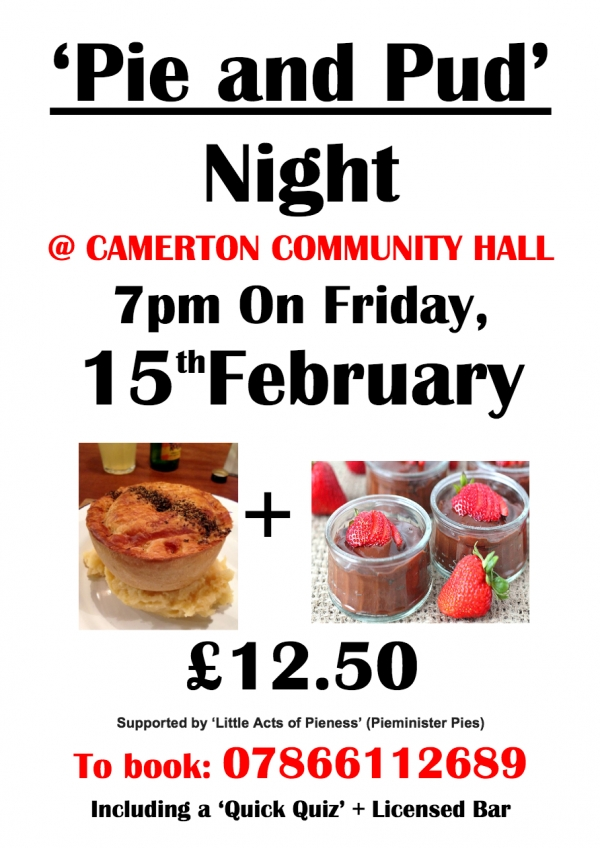 Pie and Pud Night at Camerton Community Hall