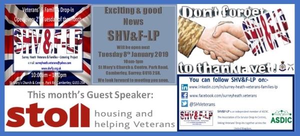 10:00am Veterans' & Families Community Drop-ln Tuesday 12th February 2019