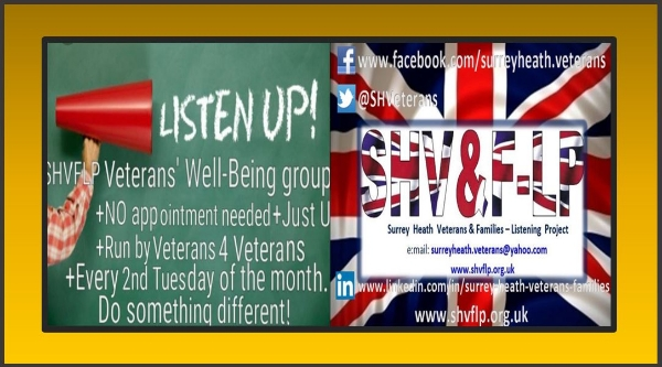 Armed Forces Veterans' & Families Drop-ln Tuesday 14th  May 2019