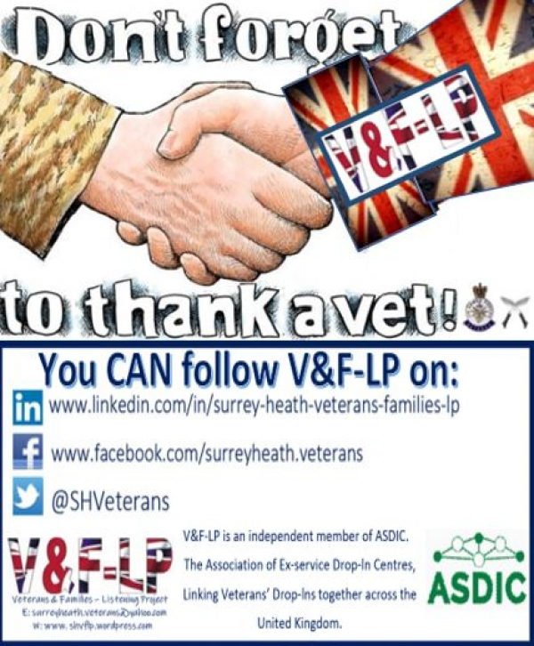 Drop-in for Veterans & Families of the British Armed Forces Tuesday 9th July 2019