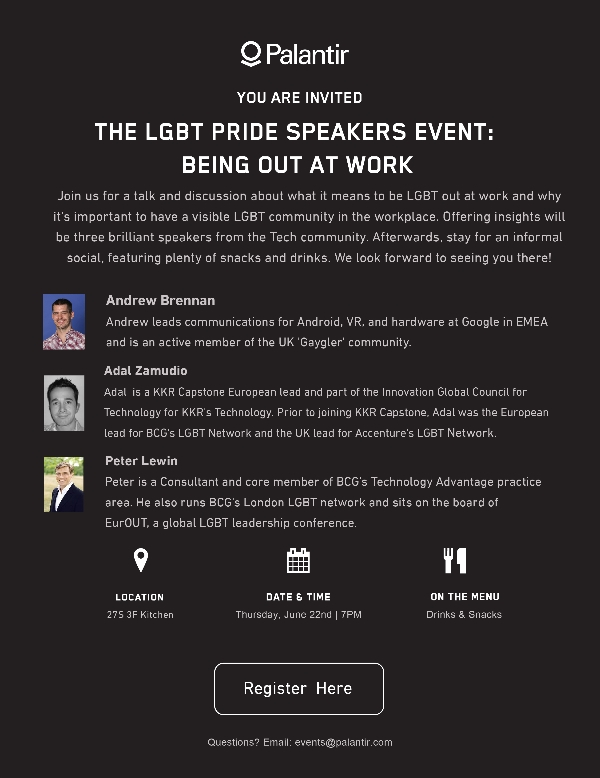 Palantir LGBT Pride Speakers Event: Being Out At Work