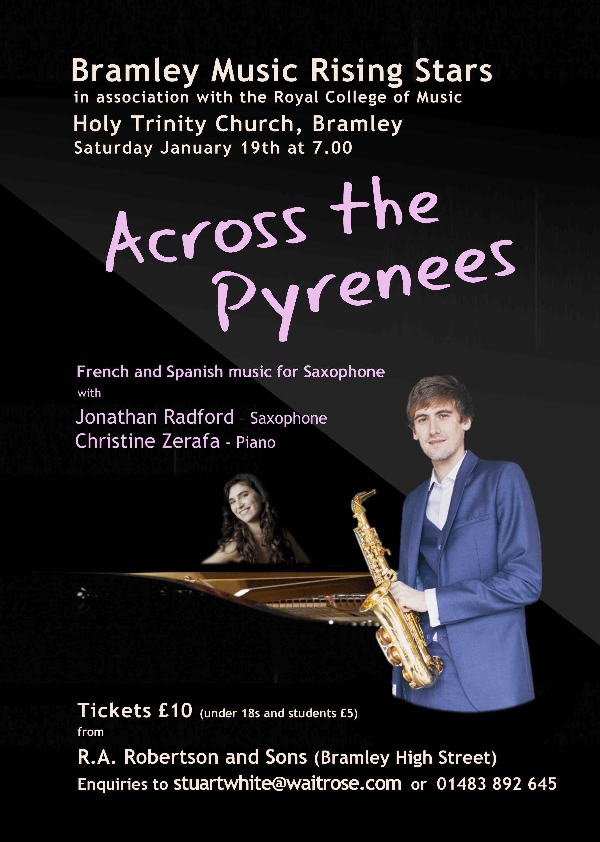 Across the Pyrenees - Saxophone and Piano 7pm 19th January in Holy Trinity Church Bramley