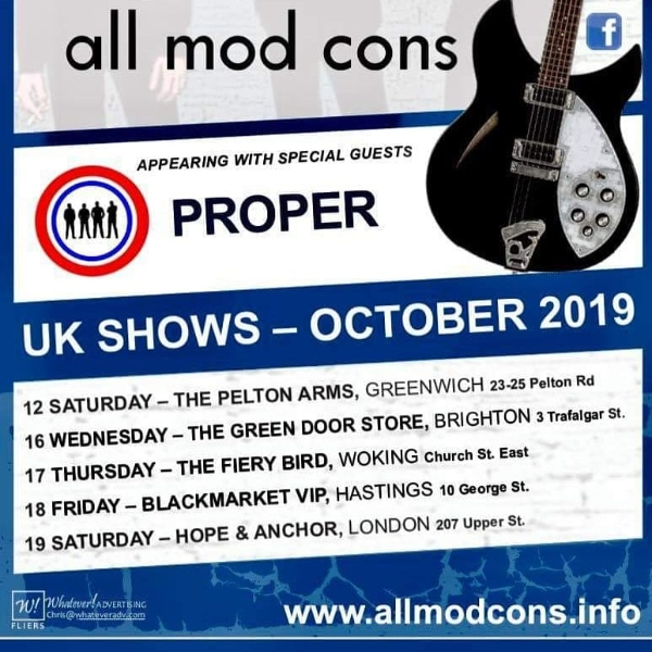 All Mod Cons Anniversary Tour + special guests Proper