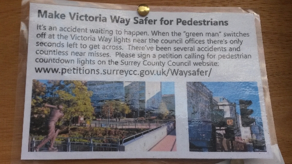 Petition about pedestrian safety in Horsell