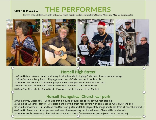 Performers at the Horsell Christmas Market - Saturday 7 December 2pm - 6pm