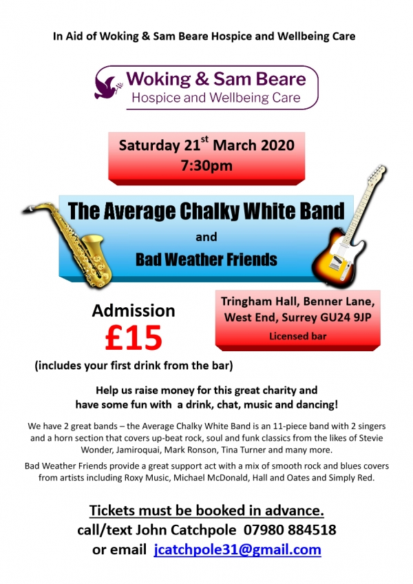 Charity concert in aid of Woking Hospice - Saturday 21 March @ 7:30pm