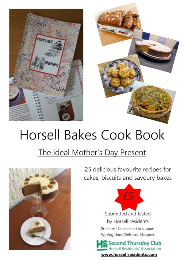 Horsell Bakes recipe book for charity - available at local shops!