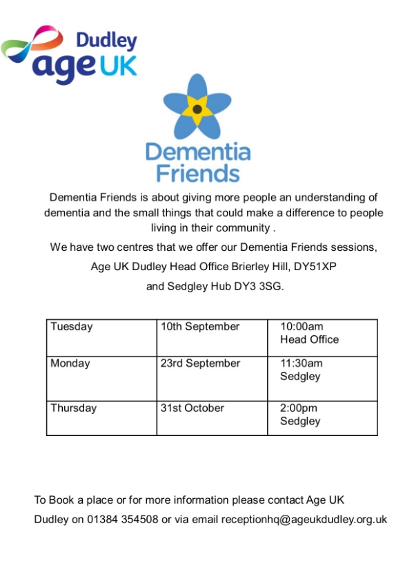 Free Dementia Friends Sessions Open to All