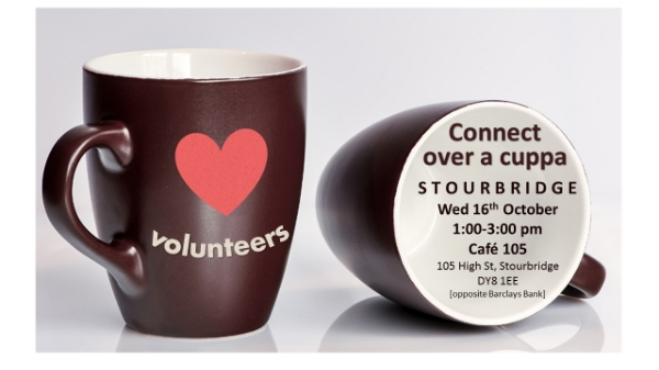 Connect over a cuppa on 16th October in Stourbridge for those who support volunteers