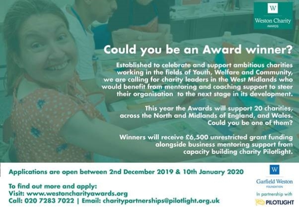 Could your charity be an award winner? - Weston Charity Awards