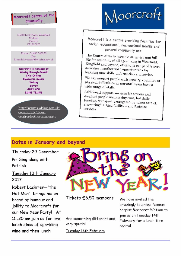 What's on at Moorcroft Community Centre