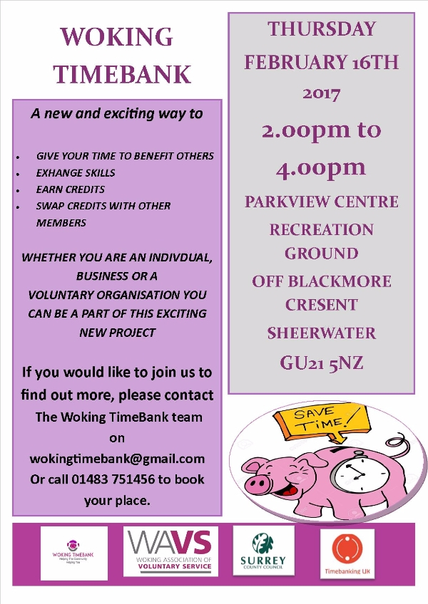 This Thursday the  Launch of  Woking TimeBank
