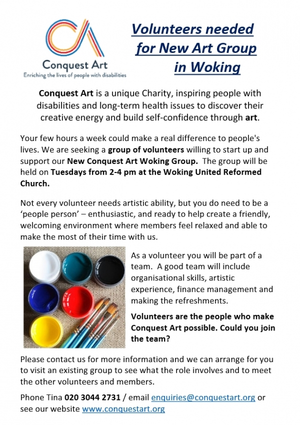 Urgent - Volunteers needed for a New Art Group in Woking