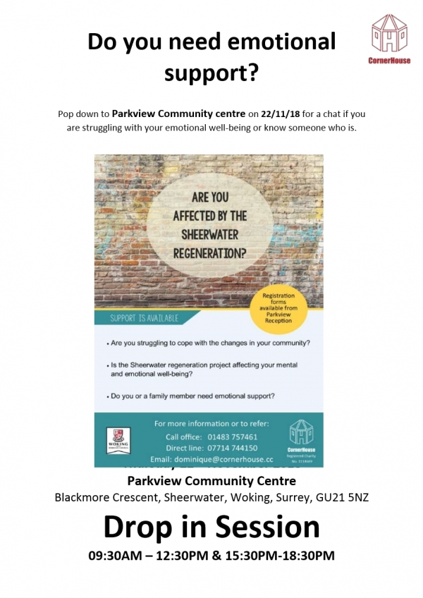 Are you affected by the Sheerwater regeneration - Do you need emotional support