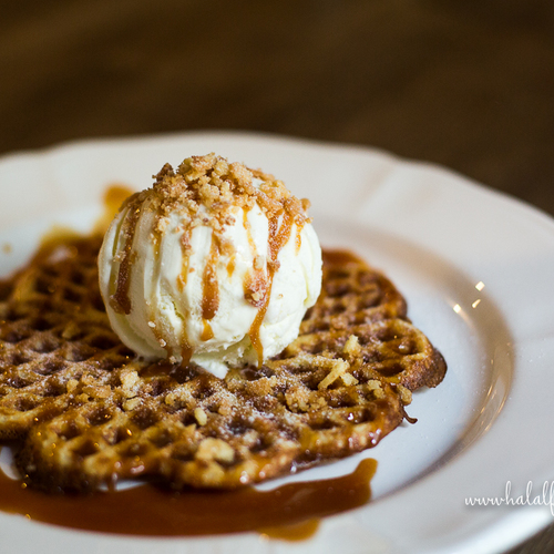 Fika cafe halal salted caramel waffle with vanilla ice cream