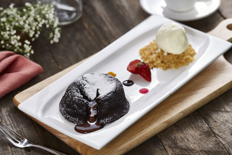 Citrus by the pool molten chocolate lava cake