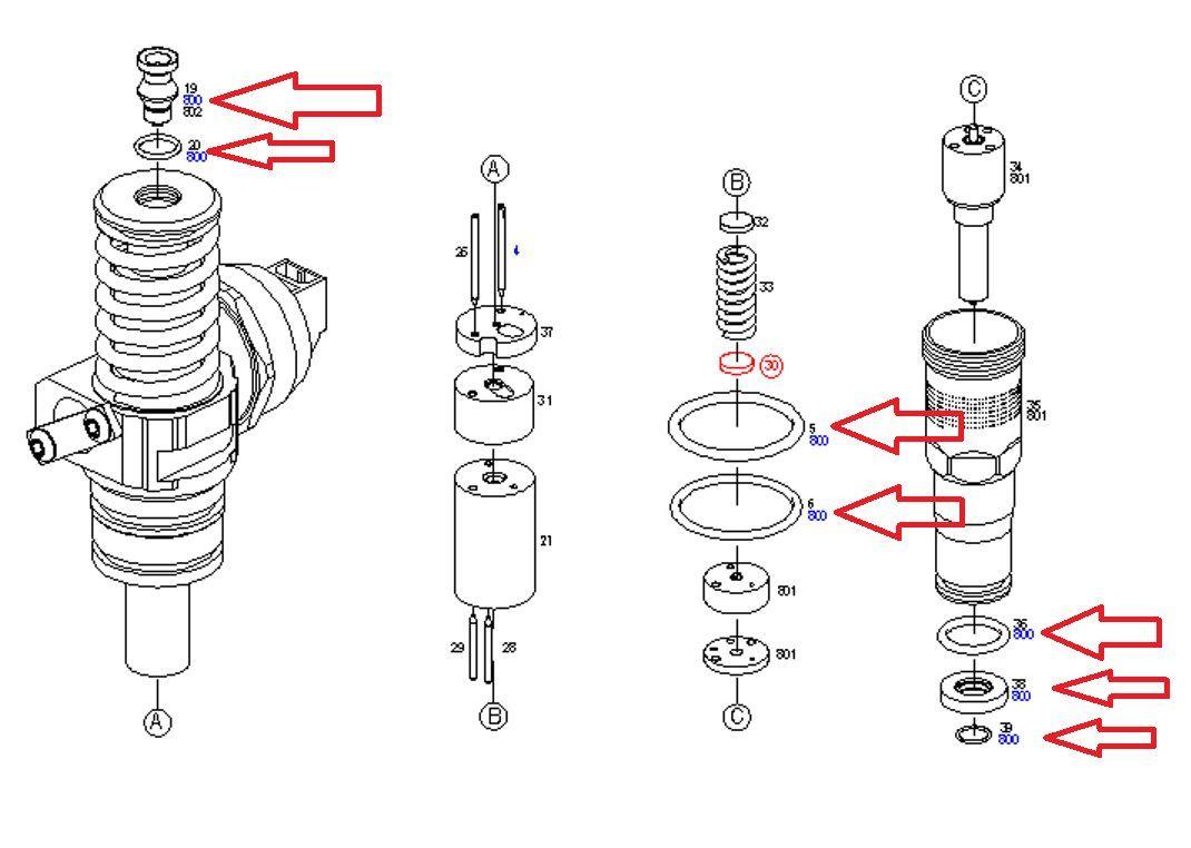 bosch pde injector seals kit  repair kit vw touareg 5 0tdi v10 ayh ble bwf cbwa 8031466000015