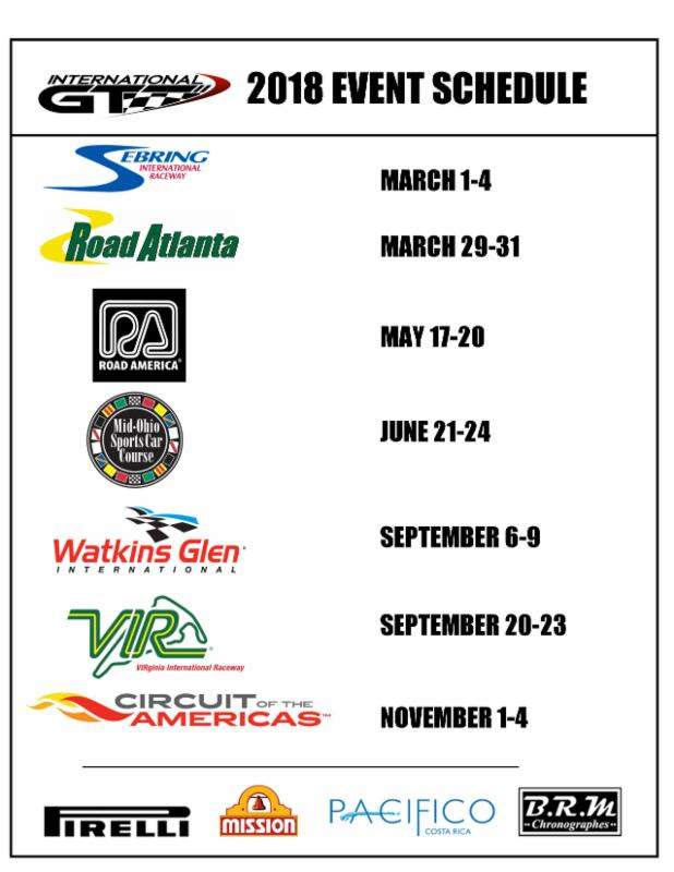international gt 2018 schedule