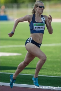Celia Peters runs an 800m race during her semi-professional sports career