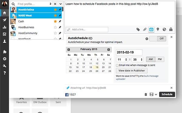 Hootsuite Schedule Post Screenshot