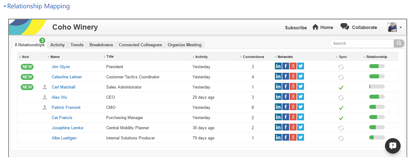 Screenshot of Introhive Relationship Mapping