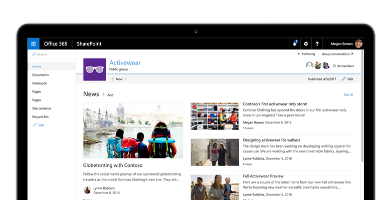 Screenshot of SharePoint