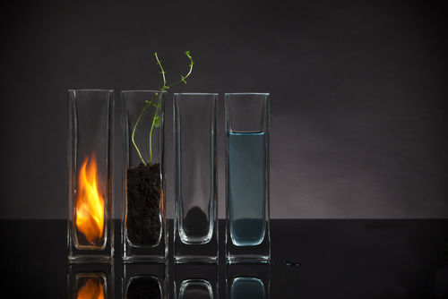 The Four Elements in Glass Vases