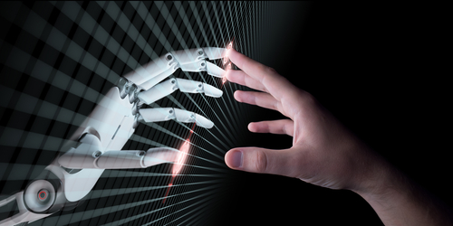 Robot Hand and Human Hand Touch