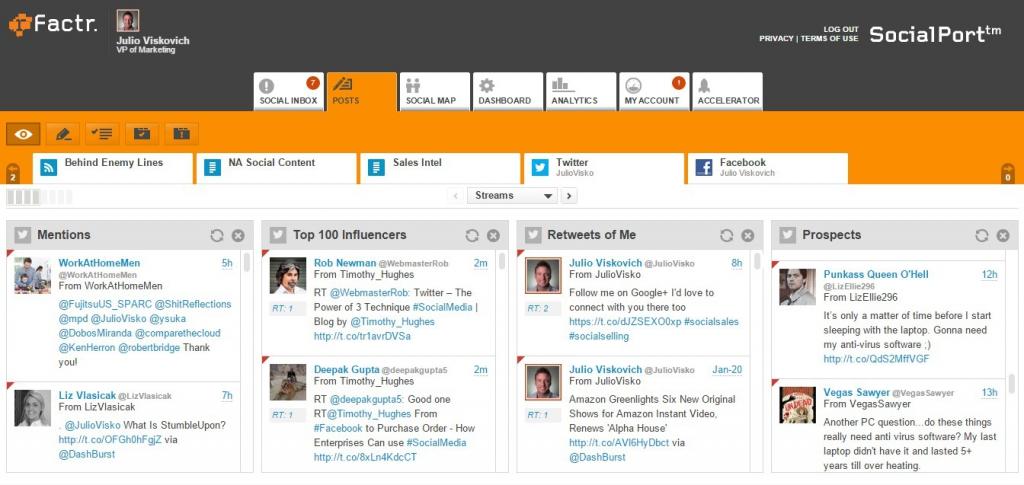 rFactr Posts Dashboard Screenshot