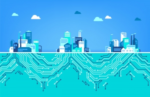 Digital transformation: three factories, connected by digital circuits