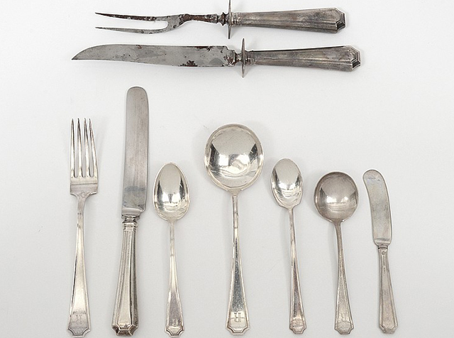 Lot 52 81-piece sterling silver part flatware set c. 1915 Durgin Auction Gallery of the Palm Beaches (April 2016) Realized Price $950 & Why is Sterling Silverware Making a Comeback?