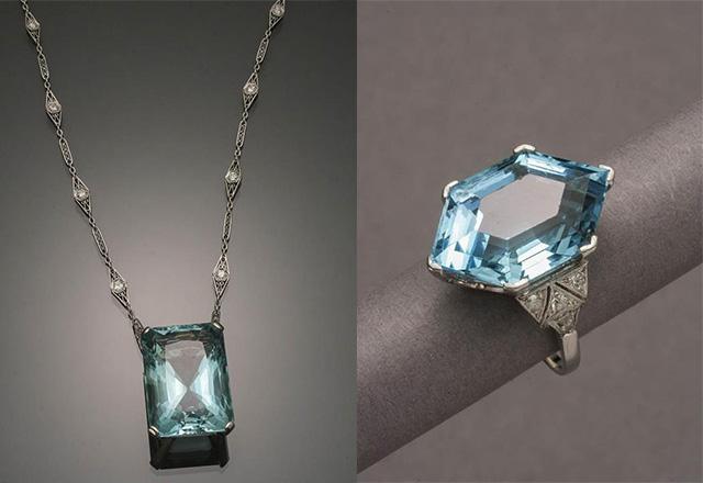 Specialists speak the most overlooked gemstones left lot 48 princess length platinum aquamarine diamond necklace right lot 26 art deco platinum aquamarine diamond right c aloadofball Images