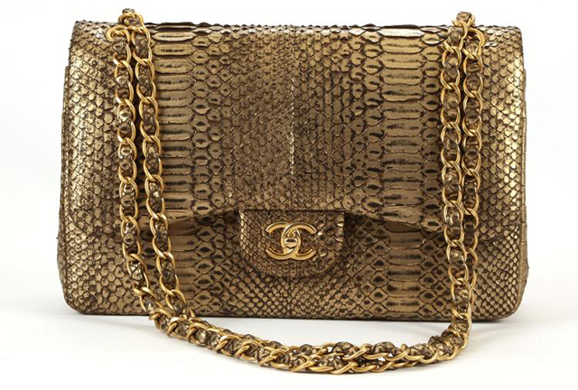 chanel handbags 2017. chanel 2.55 flap bag from 2011, gold python skin, sold at chiswick auctions for £3600 (december 2016). handbags 2017