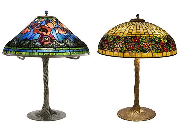 Art nouveau defined in 8 minutes left poppy table lamp right belted rose table lamp by tiffany studios circa 1910 lead stained glass and bronze ophir gallery aloadofball Images