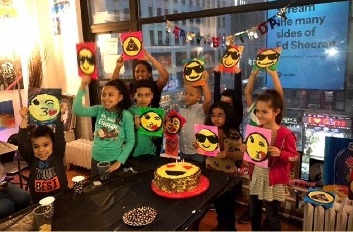 Two Hour Childrens Emoji Themed Painting Birthday Party For Up To Ten In New York