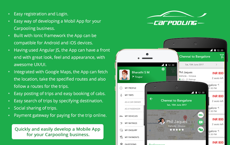 Carpooling Or Rideshare Mobile App Ionic Marketplace