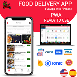 ionic 5 Food Delivery Full Android  iOS  Admin Panel PWA app with firebase