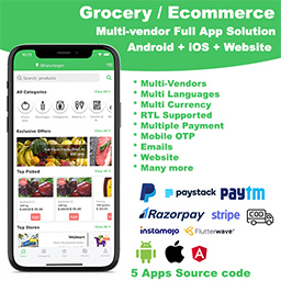 ionic 5 grocery / delivery services / ecommerce multi vendorsAndroid  iOS  Website ionic 5 / CodeIgniter