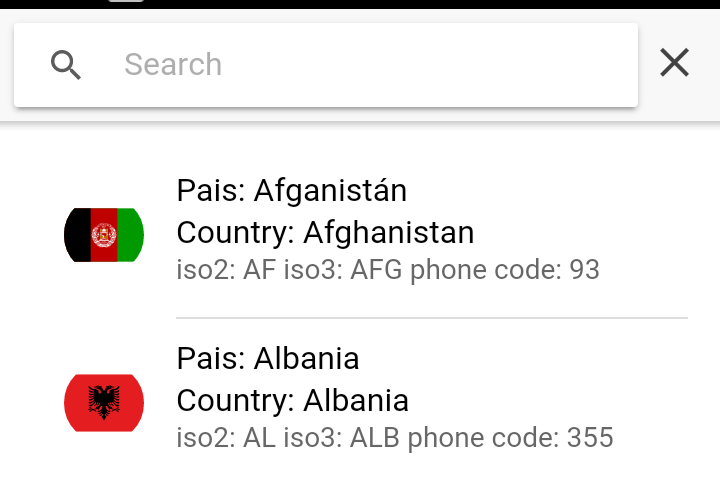 searchbar and list for country