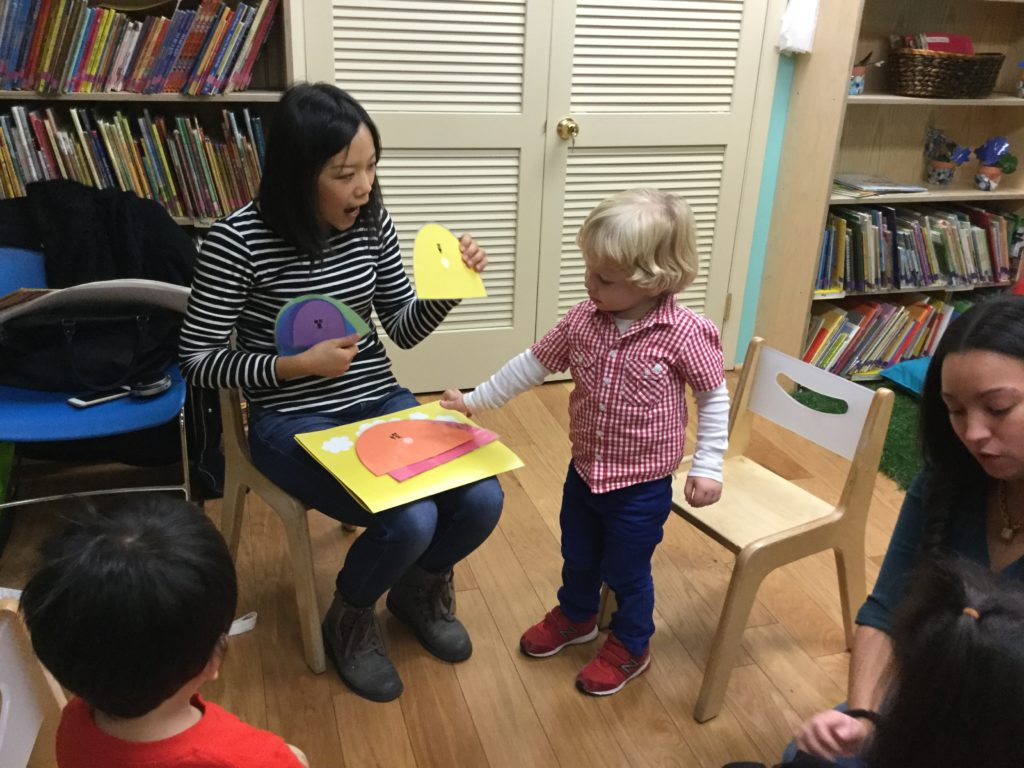 Through the use of props and games, children build upon vocabulary in both English and Mandarin during our Mandarin Seeds class.