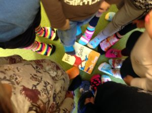 """Crazy Sock Day"" in honor of Dr. Seuss' Fox in Socks."